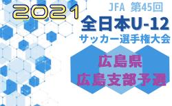 速報!2021年度 JFA 第45回全日本U-12サッカー選手権大会 広島県 広島支部予選 県大会出場チーム決定!